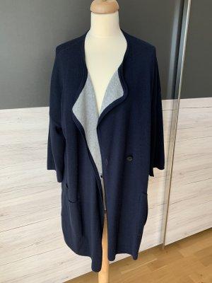 Set Cappotto a maglia blu scuro-grigio chiaro