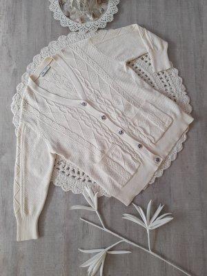 Oversized Strickjacke Zara Gr. M granny style Perlen Zopfmuster Baumwolle absolut neuwertig