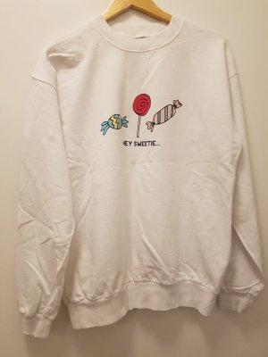 Oversized-sweatshirt in weiss, witziges Motiv