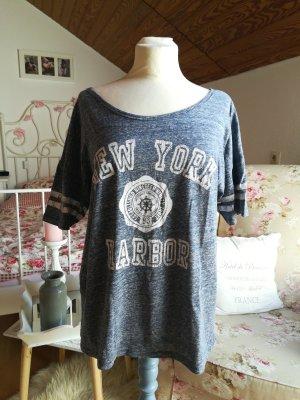 Oversized T-Shirt blau meliert