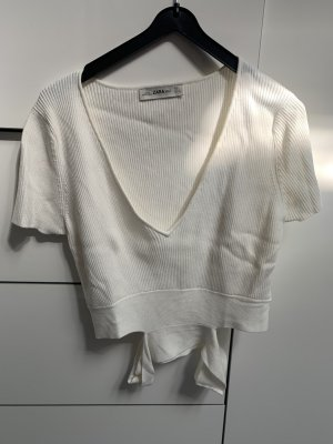 Zara Cropped Top white-natural white