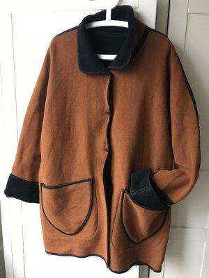 Oversized jas cognac-zwart