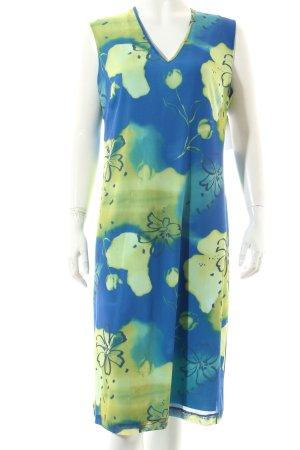 Oviesse Kleid blau-limettengelb florales Muster Casual-Look