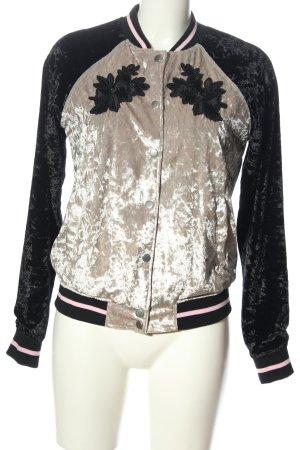 OVS Bomber Jacket silver-colored-black flower pattern elegant