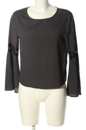 OVS Langarm-Bluse schwarz-weiß Allover-Druck Casual-Look
