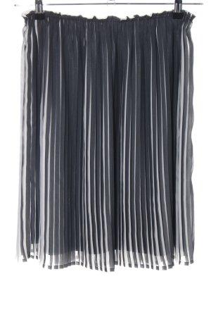 OVS Plisseerock schwarz-hellgrau Streifenmuster Elegant