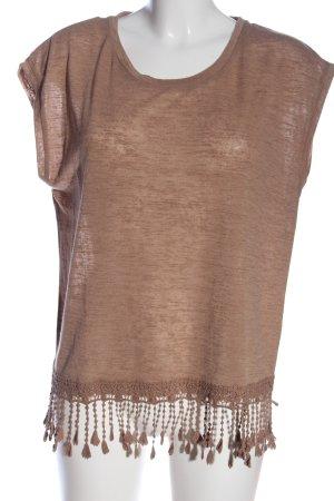 OVS Top z dzianiny brązowy Melanżowy W stylu casual