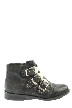 Ovyé Reißverschluss-Stiefeletten schwarz-silberfarben meliert Casual-Look