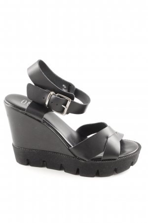 Ovyé Wedges Sandaletten schwarz Casual-Look