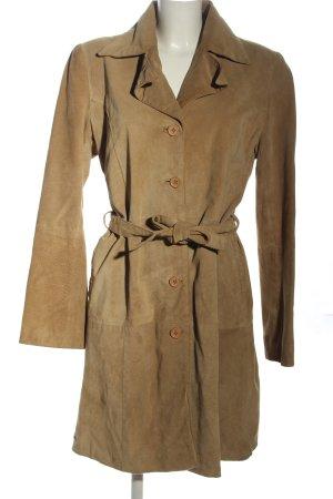 Oxmo Skórzany płaszcz brązowy W stylu casual