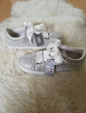 oxmox Schuhe neu Silber Glitzer Schleife weiß Größe 40