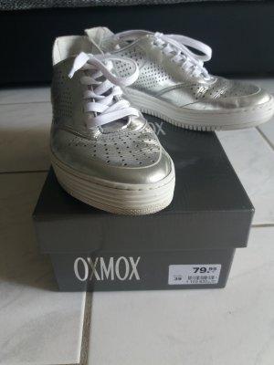 Oxmox Slipper Schuhe Damen Schnürschuhe Silber Glitzer 39