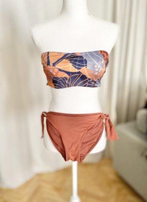 Oysho Bikini Top + Slip Erdtöne Erdfarben Orange Blau Braun M / S / XS