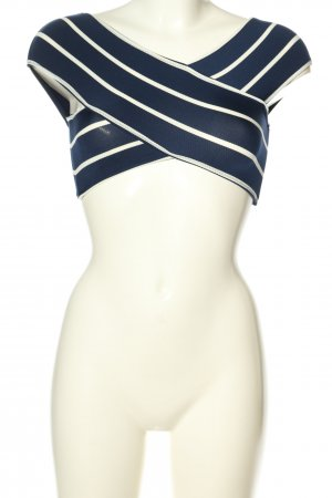 Oysho Top o skróconym kroju niebieski-w kolorze białej wełny Wzór w paski