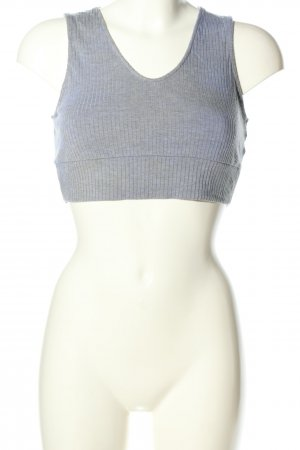 Oysho Cropped Top hellgrau Streifenmuster Casual-Look