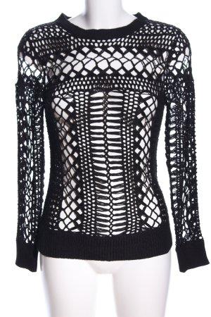 Oysho Grobstrickpullover schwarz Zopfmuster extravaganter Stil