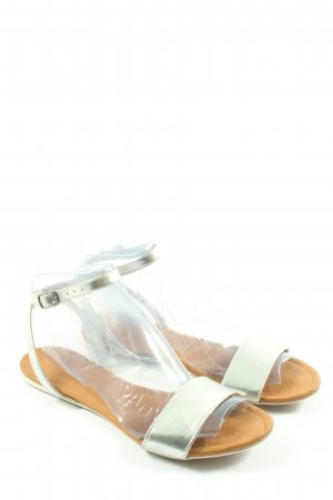 Oysho Komfort-Sandalen silberfarben Casual-Look