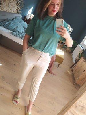 Oysho Pantalon en lin beige clair