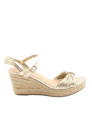 Oysho Platform Sandals gold-colored-natural white elegant
