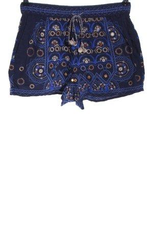 Oysho Shorts blau abstraktes Muster Casual-Look