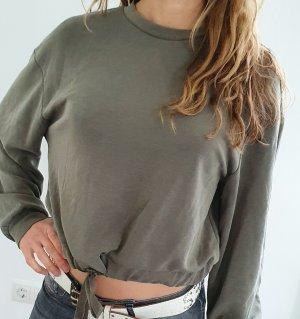 Oysho Sweater cropped pullover olive khaki Fitness Yoga