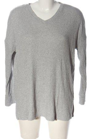 Oysho Maglione con scollo a V grigio chiaro motivo a righe elegante