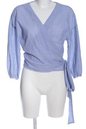 Oysho Kopertowa bluzka niebieski-biały Wzór w paski W stylu biznesowym