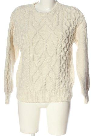 Oysho Warkoczowy sweter kremowy Warkoczowy wzór W stylu casual