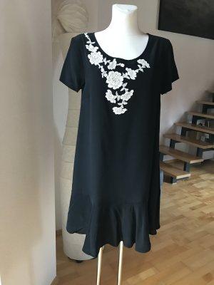 P.a.r.o.s.h. Kleid Seidenkleid mit Applikation schwarz weiß Seide