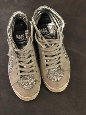 ~~ P448 ~~ high Sneaker * Skater * Gr.37 * Glitzer silber * NP 189€