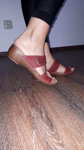 Sandalo con tacco rosso mattone-color cammello