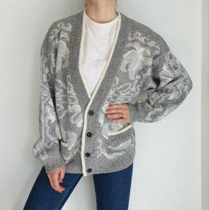 Paco Calvari grau Jacke Cardigan Strickjacke Oversize Pullover Hoodie Pulli Sweater Top True Vintage