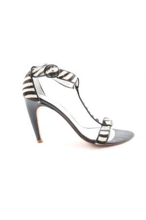 Paco Gil High Heel Sandal black-white striped pattern elegant