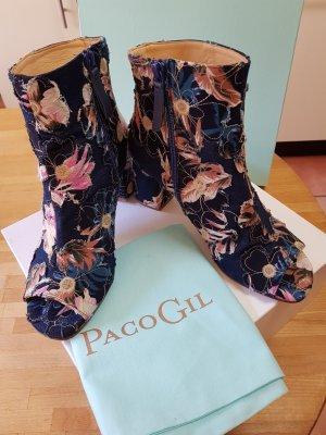 Paco Gil Stivaletto spuntato blu acciaio-rosa pallido