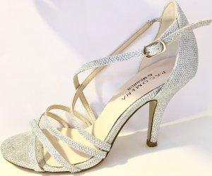 Paco Mena by Menbur Riemchensandalette Silber Glitzer 37 Stiletto Sandalette High Heels