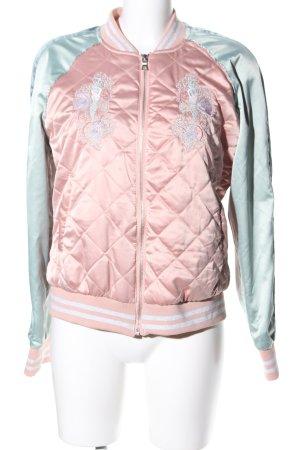 Page one Bomberjacke pink-türkis Blumenmuster Casual-Look