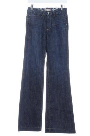 Paige Boot Cut Jeans dunkelblau Logo-Applikation aus Leder