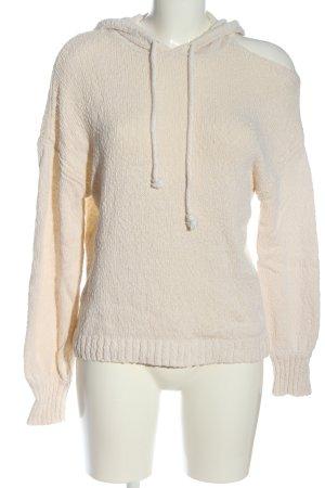 Paige Maglione con cappuccio bianco sporco punto treccia stile casual