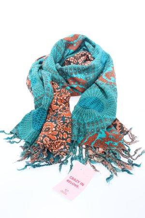 Paigh Mantilla turquesa-naranja claro estampado con diseño abstracto
