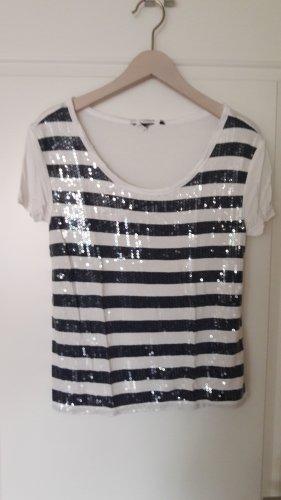 Gestreept shirt wit-donkerblauw Gemengd weefsel