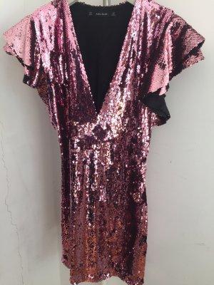 Pailetten-Stretch-Kleid Pink