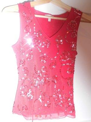 Top batik rouge fluo tissu mixte