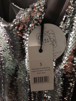 Nakd Sequin Dress silver-colored