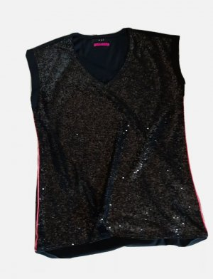 Oui A-lijn top zwart-roze