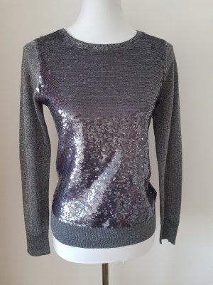Pailletten Damen Pullover grau von H&M Gr. S 36