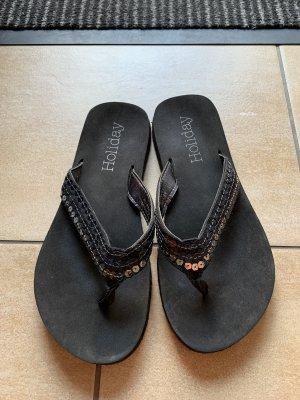 Pailletten Flip Flops schwarz