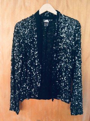 Antik Batik Chaqueta tipo blusa negro-color plata Viscosa