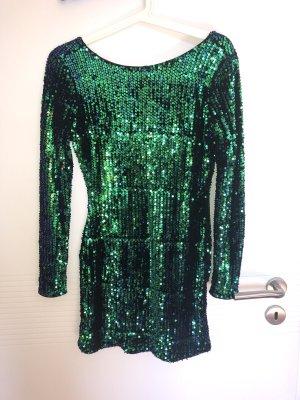 Boohoo Sequin Dress forest green-blue
