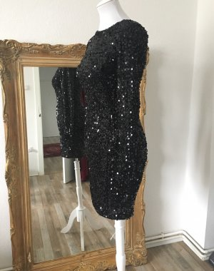 Warehouse Robe à paillettes noir