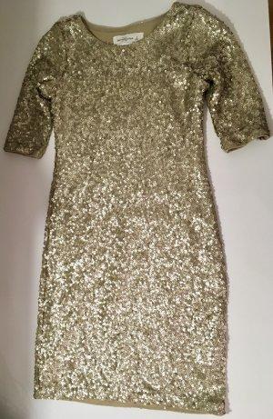 Pailletten Kleid Abercrombie & Fitch Gold Partykleid kurzärmelig figurbetont S 36
